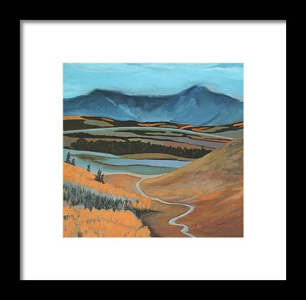 Mountains Framed Print featuring the painting Approach To Cochrane by Johanna Wray