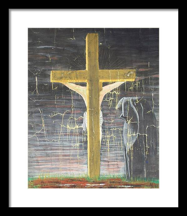 Cross Framed Print featuring the painting Approaching Death by Norman F Jackson