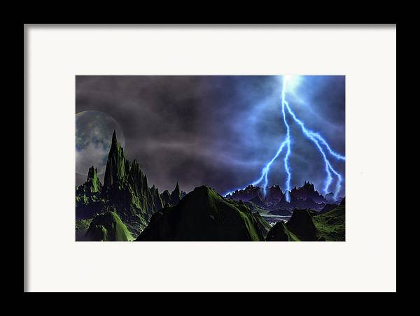 David Jackson Approaching Storm Venus Alien Landscape Planets Scifi Framed Print featuring the digital art Approaching Storm by David Jackson