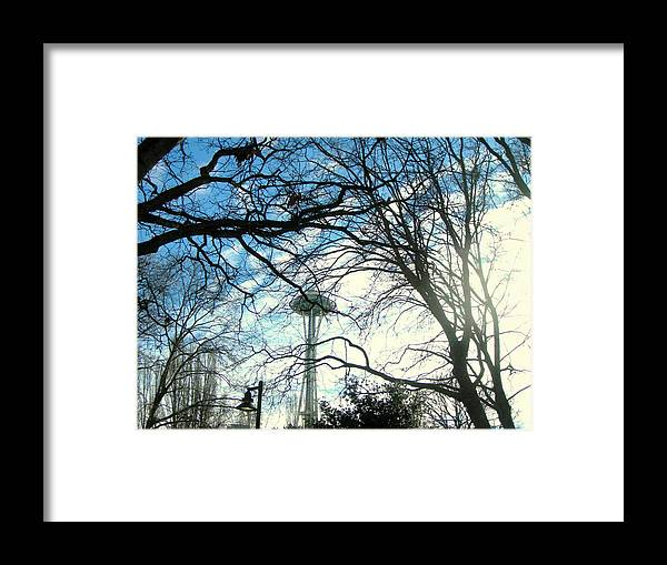 Space Needle Framed Print featuring the photograph Approaching The Space Needle by Maro Kentros