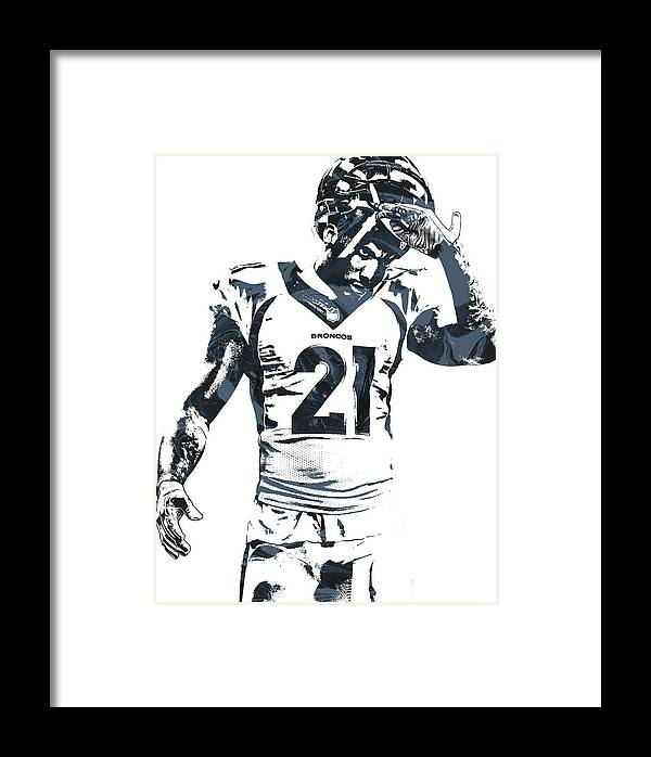 Aqib Talib Denver Broncos Pixel Art Framed Print by Joe Hamilton