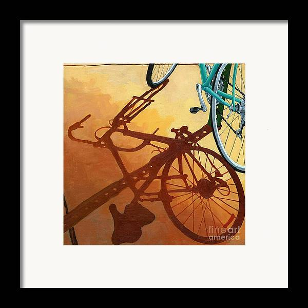 Bicycle Art Framed Print featuring the painting Aqua Angle by Linda Apple
