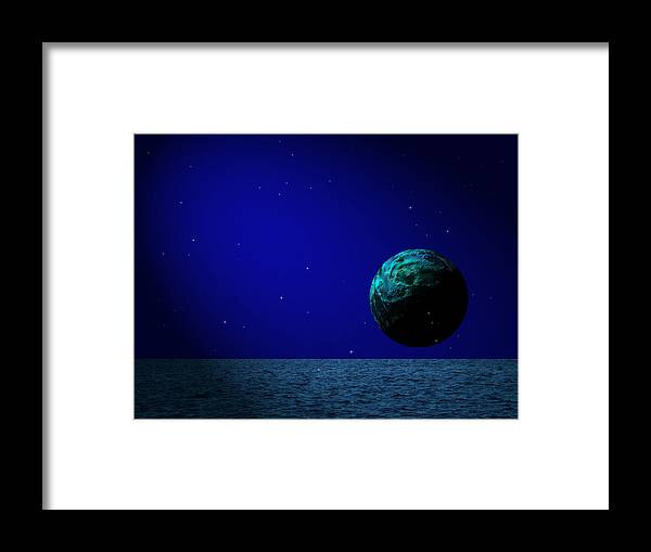 Surreal Framed Print featuring the digital art Aqua Luna And The Midnight Sun by Juana Maria Garcia-Domenech