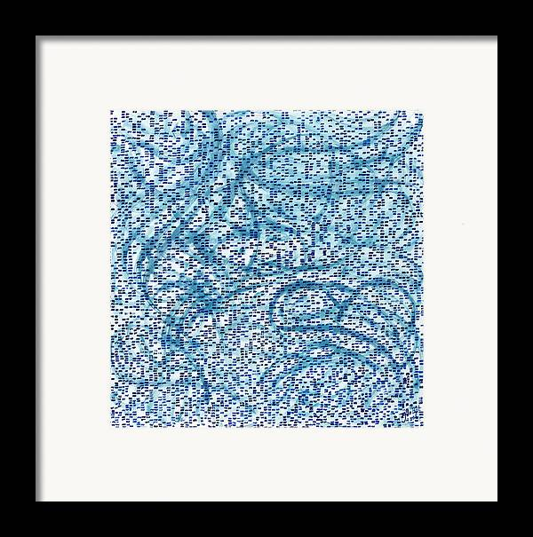 Square Abstract Pattern Blue Turquoise White Cool Framed Print featuring the painting Aqua Minerale by Joan De Bot