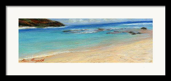 Coastal Decor Framed Print featuring the painting Aqua Moloa'a by Kenneth Grzesik
