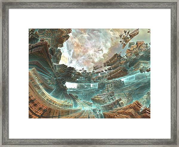 Aqua Space Shipyard Framed Print By Dr Pen