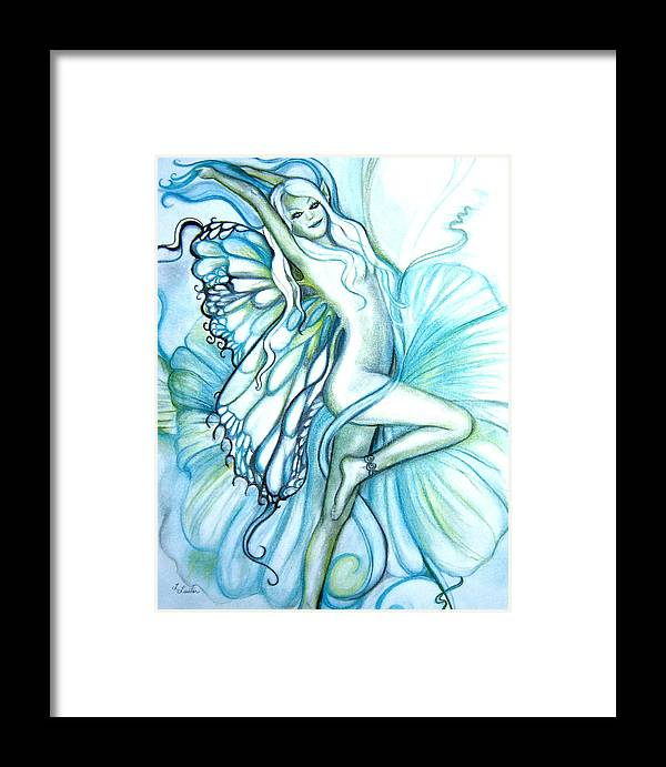 Dancing Fairy Framed Print featuring the drawing Aquafairie by L Lauter