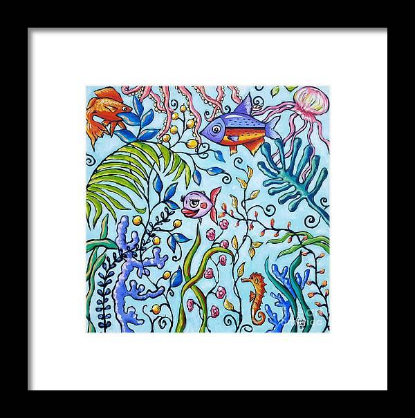 Aquarium Framed Print featuring the painting Aquarium by Sandra Lett
