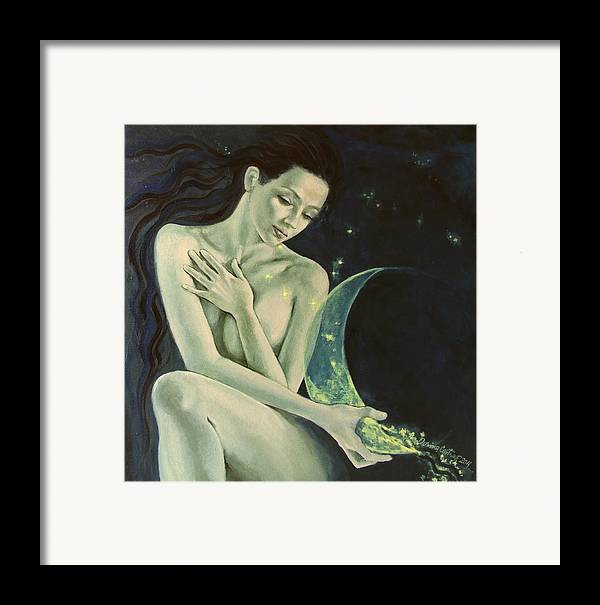 Art Framed Print featuring the painting Aquarius From Zodiac Signs Series by Dorina Costras