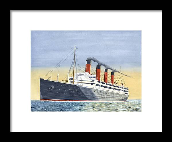Aquitania Framed Print featuring the painting Aquitania-calm Sea And Prosperous Voyage by John Kinsley