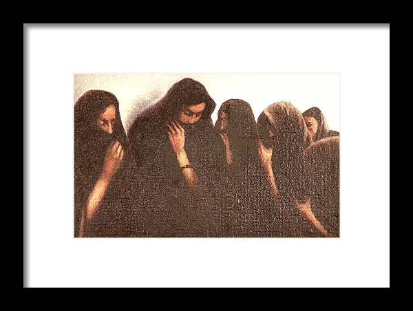 Figures Framed Print featuring the painting Arab Women by James LeGros