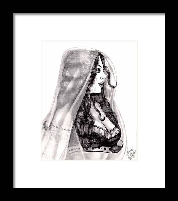 Figure Framed Print featuring the drawing Arabian Beauty by Scarlett Royal