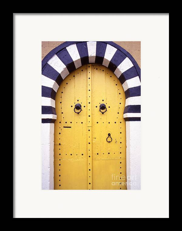 Arabic Framed Print featuring the photograph Arabic Door In Tunisia by Steve Outram