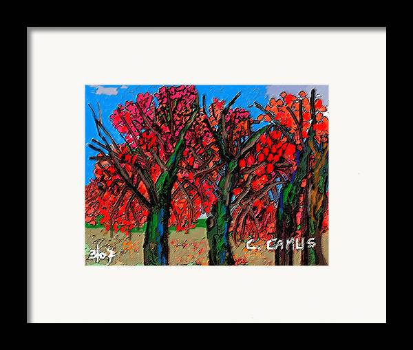 Art Framed Print featuring the painting Arboles - Figuras by Carlos Camus