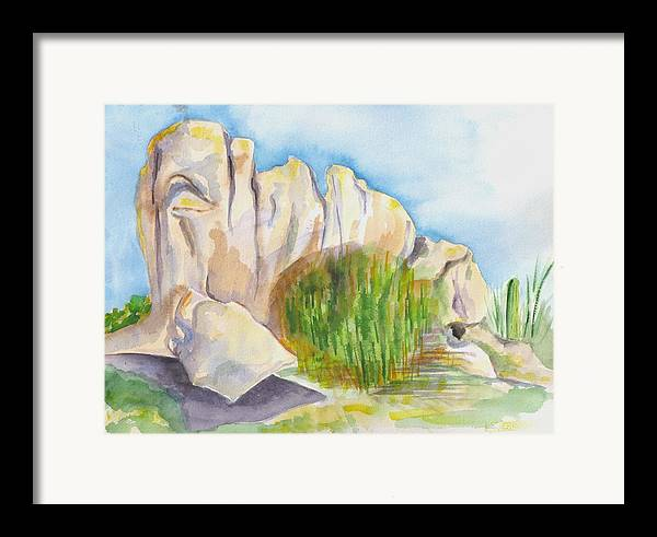 Landscape Framed Print featuring the painting Arboretum Rocks by Kathy Mitchell