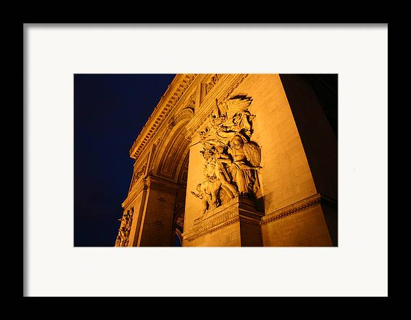 Digitial Photography Framed Print featuring the photograph Arc De Triomphe At Night by Jennifer McDuffie