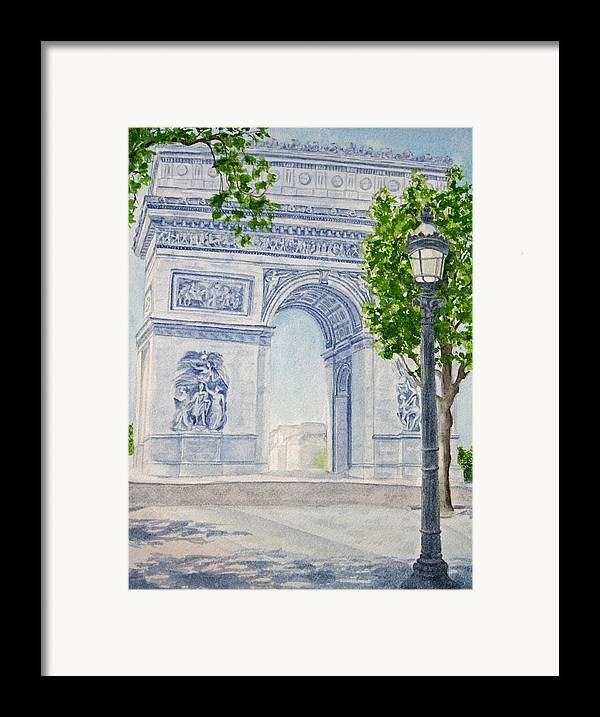 Architecture Framed Print featuring the painting Arc De Triomphe by Monika Degan