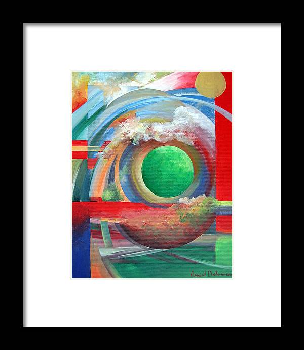 Abstract Framed Print featuring the painting Arc by Muriel Dolemieux