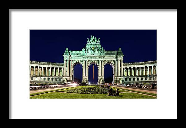 Brussels Framed Print featuring the photograph Arcade Du Cinquantenaire At Night - Brussels by Barry O Carroll