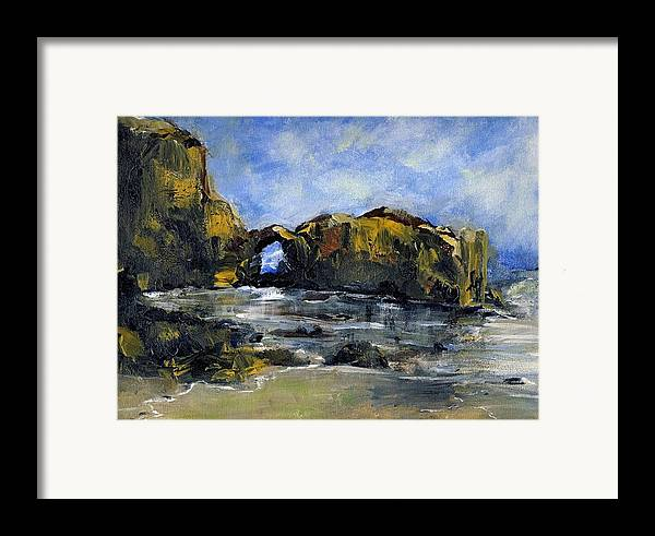 Beach Framed Print featuring the painting Arch At Pearl Beach Over Cast by Randy Sprout