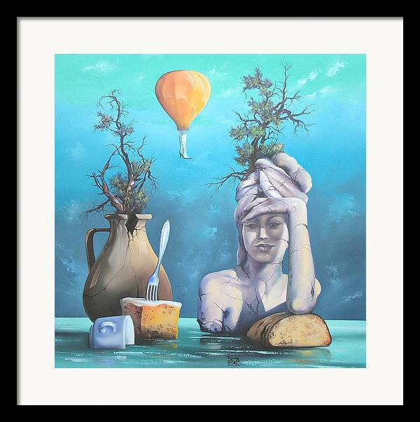 Framed Print featuring the painting Archaic Breakfast by Zoltan Ducsai