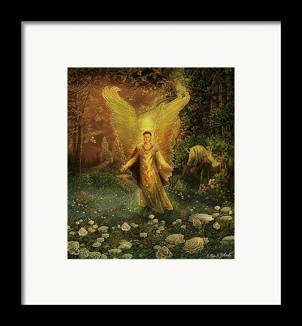 Angel Framed Print featuring the painting Archangel Azrael by Steve Roberts