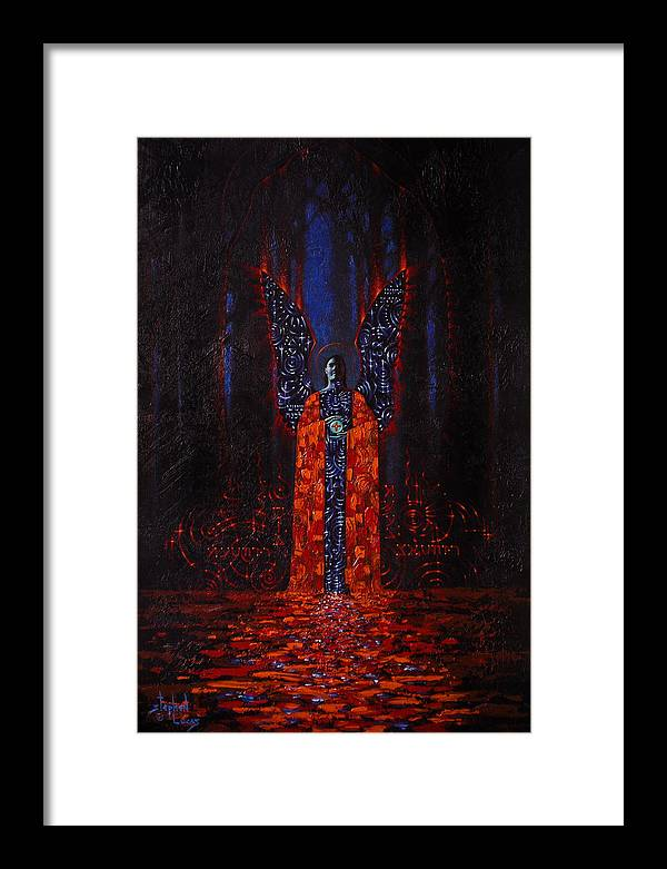 Mystical Framed Print featuring the painting Archangel Evokes Through Nights Womb by Stephen Lucas