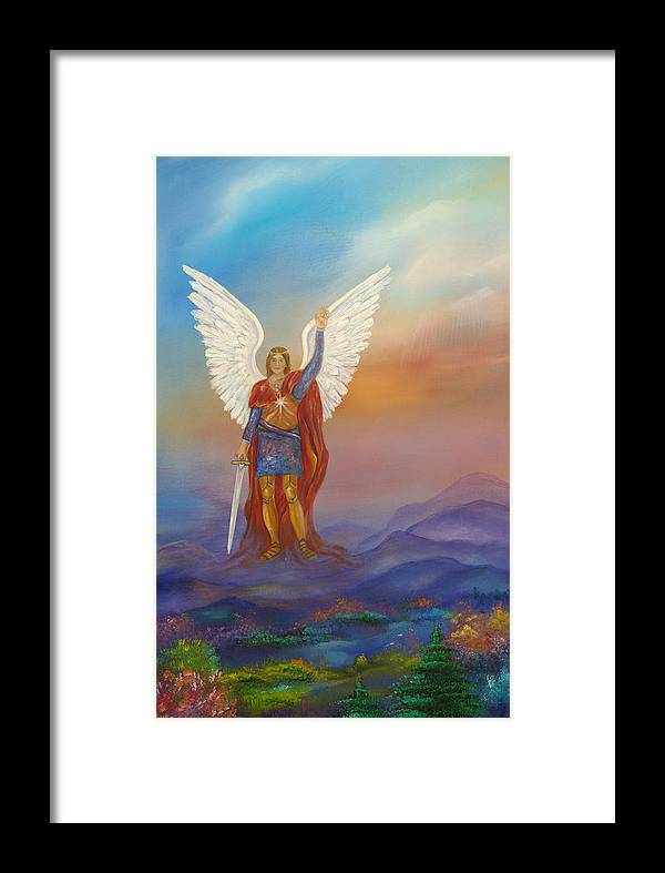Angel Framed Print featuring the painting Archangel Michael by Sundara Fawn