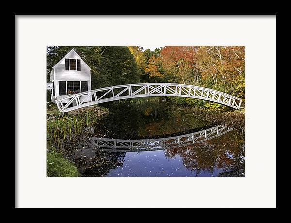Arched Bridge Framed Print featuring the photograph Arched Bridge-somesville Maine by Thomas Schoeller