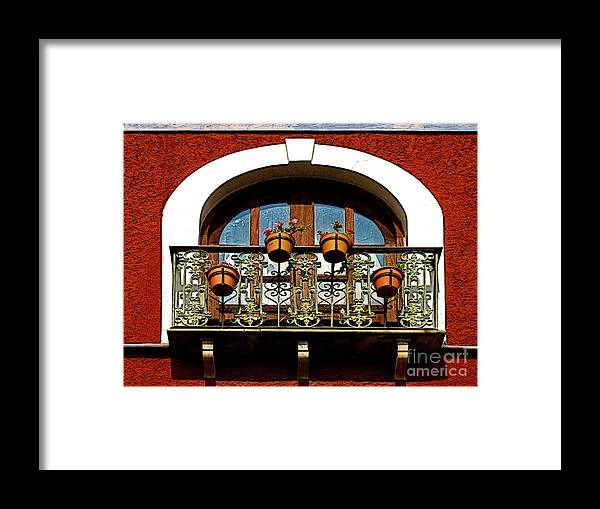 Darian Day Framed Print featuring the photograph Arched Window With Flowers by Mexicolors Art Photography