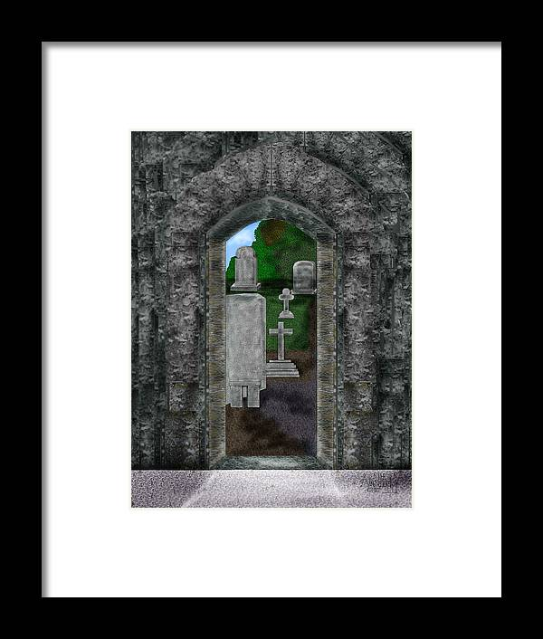 Digital Landscape Framed Print featuring the painting Arches and Cross in Ireland by Anne Norskog