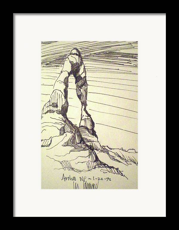 National Park Framed Print featuring the drawing Arches Np by Les Herman