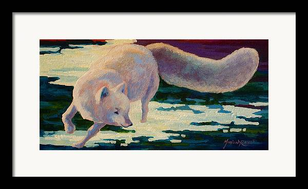 Arctic Framed Print featuring the painting Arctic Fox by Marion Rose