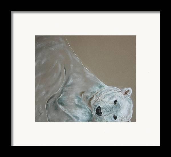 Polar Bear Framed Print featuring the drawing Arctic Frolic by Cori Solomon