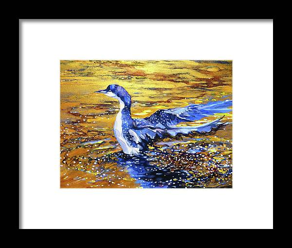 Arctic Framed Print featuring the painting Arctic Loon On Golden Pond by Beverly Berwick