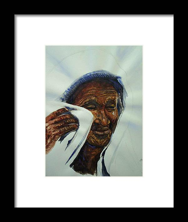 Saint Framed Print featuring the painting Are My Tears Not Stored In Your Vial by Tommy Winn