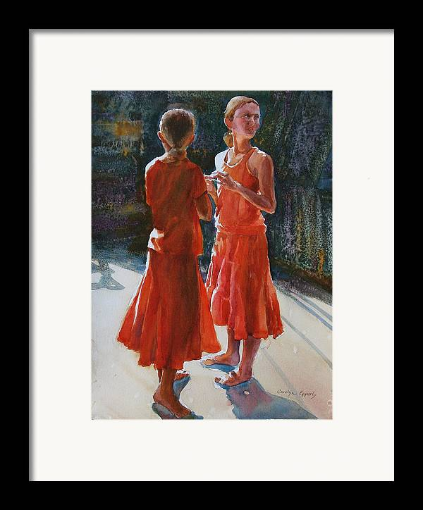 Figures Framed Print featuring the painting Are They Twins by Carolyn Epperly