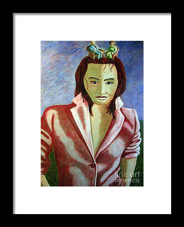 Identity (symbolic Art) Framed Print featuring the painting Are We Our History Our Family Our Dna Or Our Genes by Tanni Koens