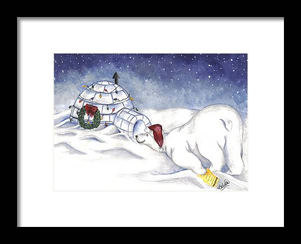 Polar Bear Framed Print featuring the painting Are You In There Santa by Belinda Buckler