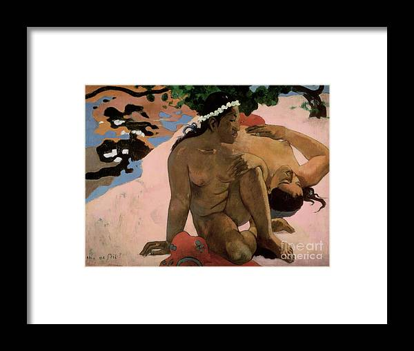 Aha Framed Print featuring the painting Are You Jealous by Paul Gauguin