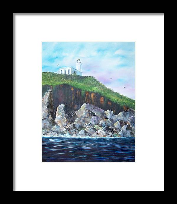Arecibo Lighthouse Framed Print featuring the painting Arecibo Lighthouse by Tony Rodriguez