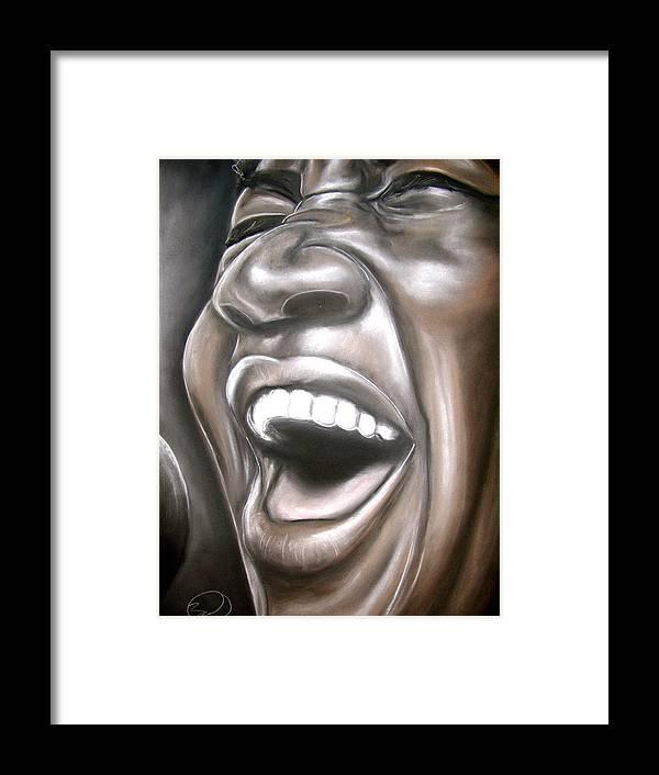 Aretha Framed Print featuring the drawing Aretha Franklin by Zach Zwagil