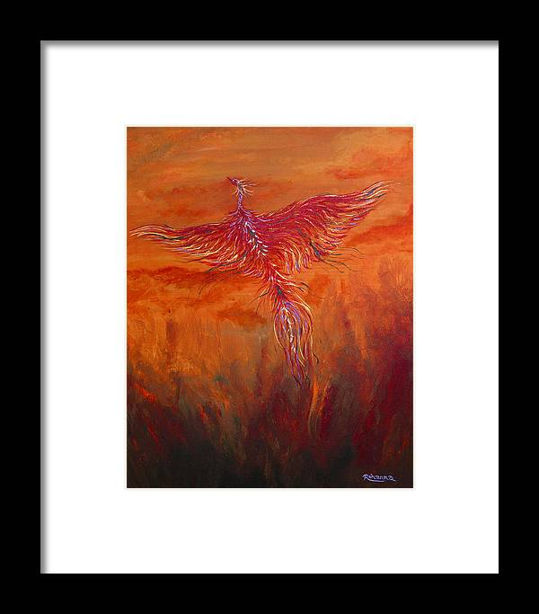 Phoenix Framed Print featuring the painting Arising From The Depths by Judy M Watts-Rohanna