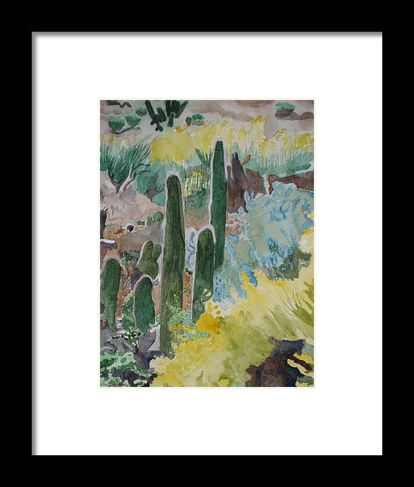 Landscape Framed Print featuring the painting Arizona Cacti by Holly Schussler