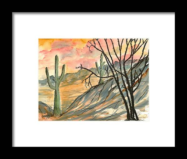 Drawing Framed Print featuring the painting Arizona Evening Southwestern landscape painting poster print by Derek Mccrea