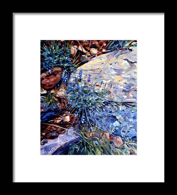 Blue Lupens Framed Print featuring the painting Arizona Flora Study by Donald Maier