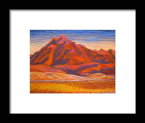 Arizona Framed Print featuring the painting Arizona Mountains At Sunset by Art Nomad Sandra Hansen