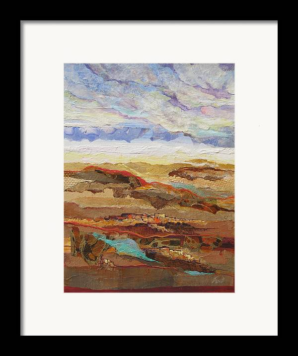 Abstracted Landscape Elements Framed Print featuring the painting Arizona Reflections Number One by Don Trout