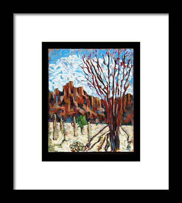 Landscape.arizona.desert.cactus.flower.blossom.phoenix..  Framed Print featuring the painting Arizona Trees In Blossom by Roger Couture