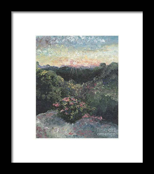 Landscape Framed Print featuring the painting Arkansas Mountain Sunset by Nadine Rippelmeyer
